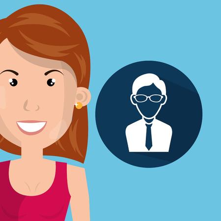 woman files folder icon vector illustration design Illustration