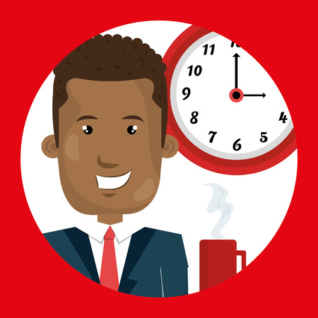 man clock cup coffee vector illustration design