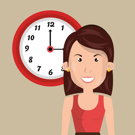 woman with clock: woman clock cup coffee vector illustration design Illustration