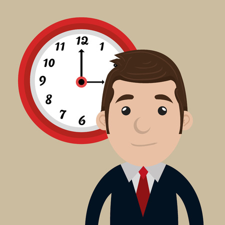 break from work: man clock cup coffee vector illustration design
