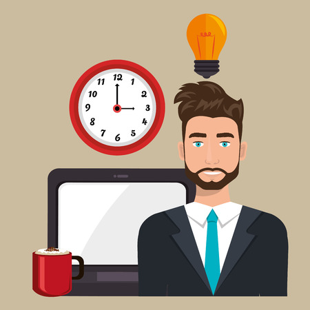 man with laptop: man laptop clock idea vector illustration design