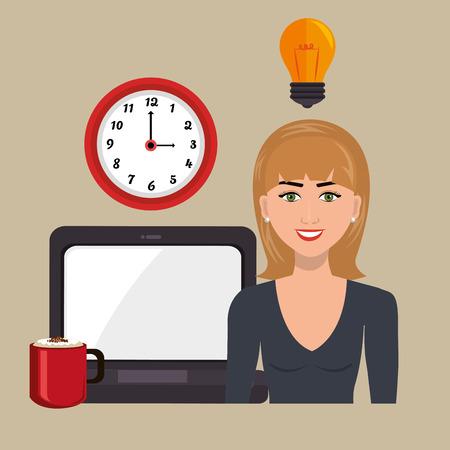 woman laptop: woman laptop clock idea vector illustration design