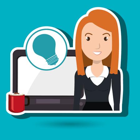 woman with laptop: woman laptop clock idea vector illustration design
