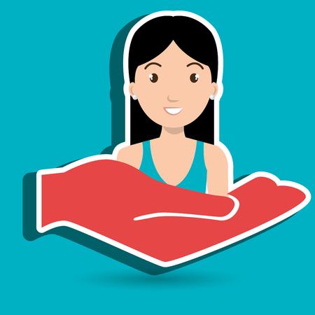 hand holding woman vector illustration