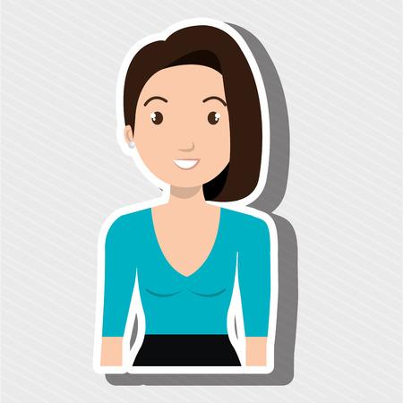 tied girl: woman adult girl female vector illustration design Illustration