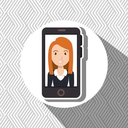 woman smartphone: woman girl smartphone icon vector illustration design Illustration