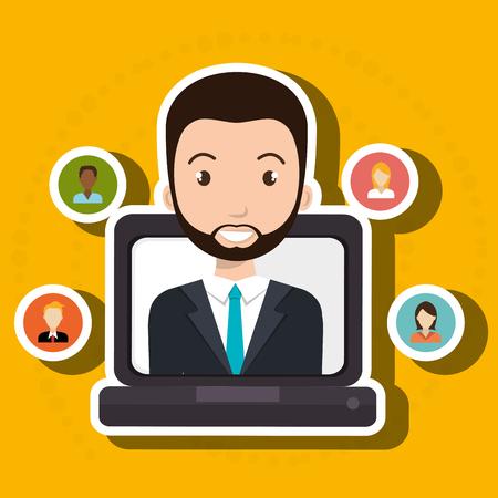 man laptop relation persons vector illustration design