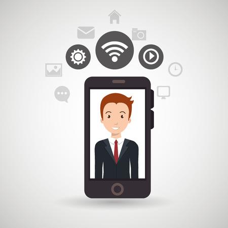 spontaneous: man cellphone wifi connection vector illustration eps10