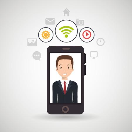 spontaneous: man cellphone wifi connection vector illustration Illustration