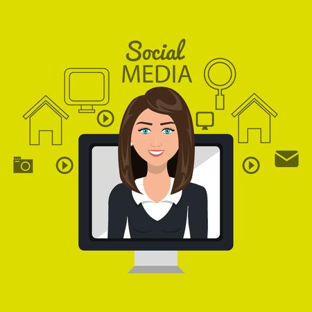 woman white shirt: woman social media apps vector illustration