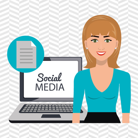 girl using laptop: woman social media apps vector illustration