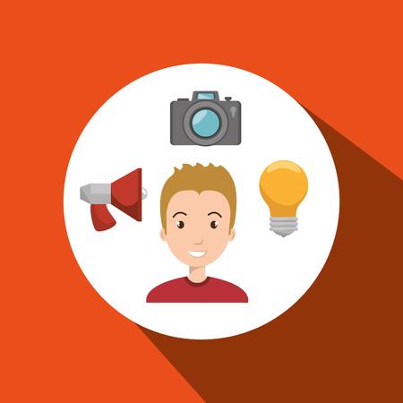 man idea search app vector illustration