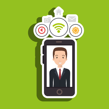 handheld device: man cellphone wifi connection vector illustration Illustration