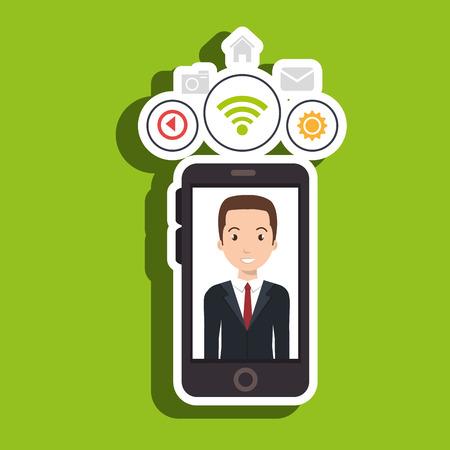 man cellphone wifi connection vector illustration Illustration