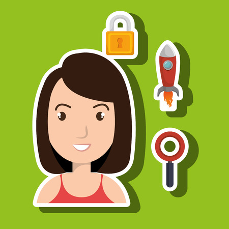 woman idea search security vector illustration