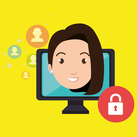 tied girl: woman social media apps vector illustration eps10