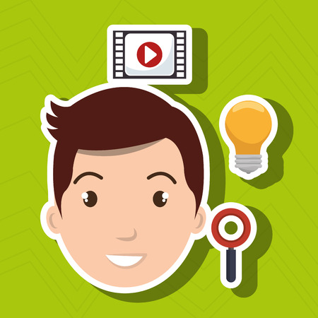 man idea search app vector illustration eps10