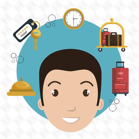 employee hotel building icon vector illustration graphic Illustration