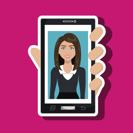 cellphone in hand: cellphone woman find hand vector illustration graphic Illustration