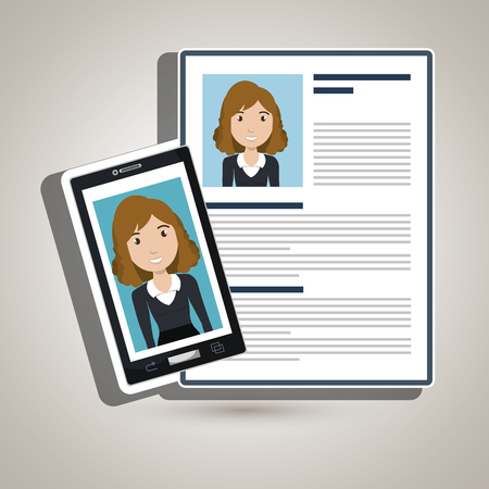 woman smartphone: woman smartphone find person cv vector illustration graphic
