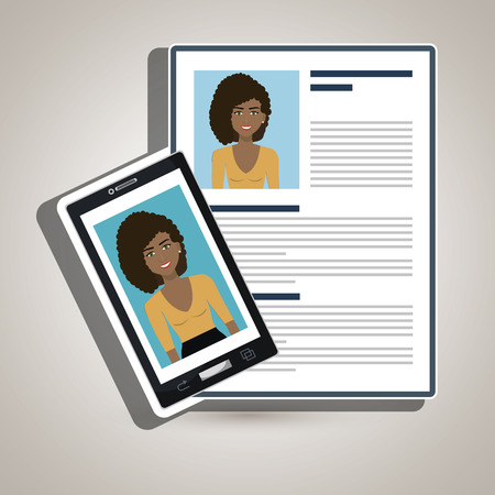 capable: woman smartphone find person cv vector illustration graphic