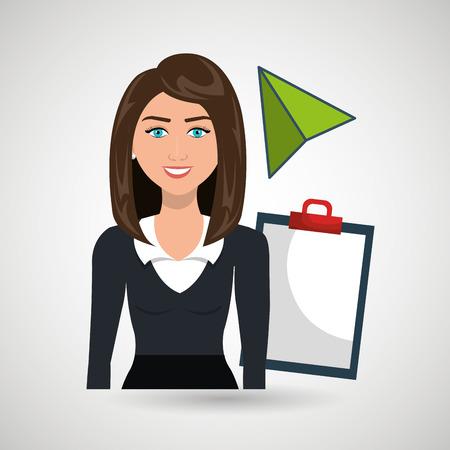 woman clipboard tool app vector illustration eps 10