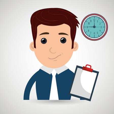man clipboard tool app vector illustration eps 10