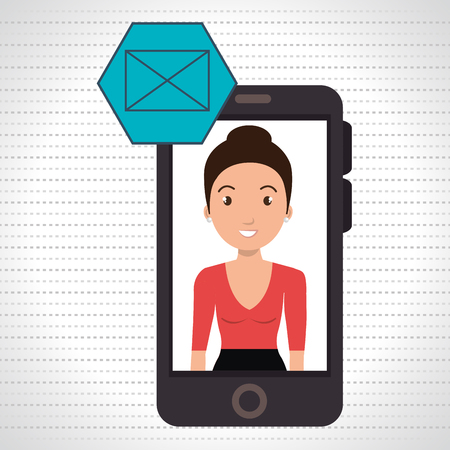 woman smartphone: woman smartphone applications email vector illustration eps 10