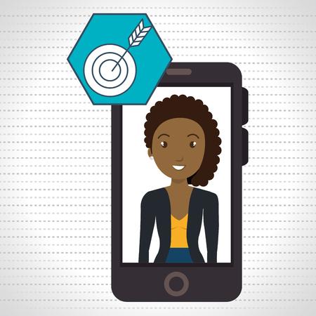 woman smartphone: woman smartphone applications target vector illustration eps 10