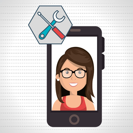 woman smartphone: woman smartphone applications tools vector illustration eps 10 Illustration