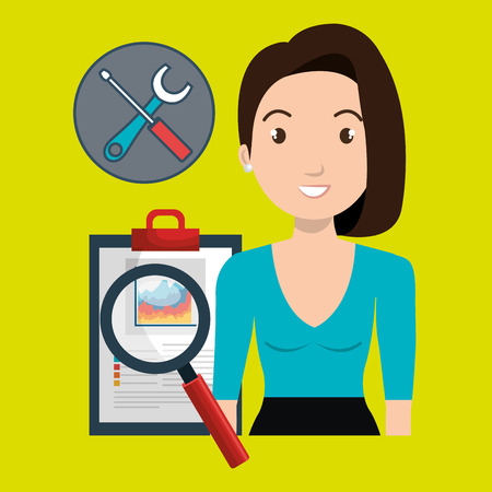 qualify: woman clipboard search tools vector illustration eps 10