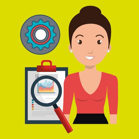 woman clipboard search gear vector illustration eps 10 Illustration