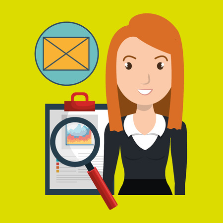qualification: woman clipboard search email vector illustration eps 10
