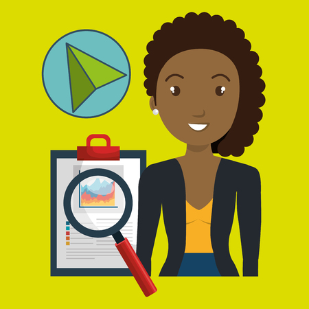 qualify: woman clipboard search cursor vector illustration eps 10