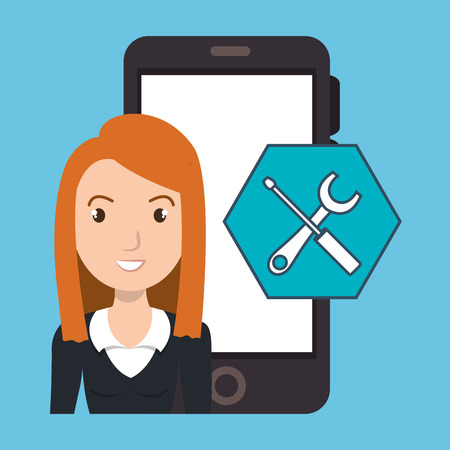 woman smartphone: woman smartphone applications tools vector illustration eps 10 Illustration