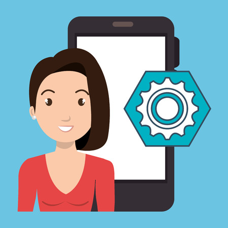 woman smartphone: woman smartphone applications gear vector illustration eps 10