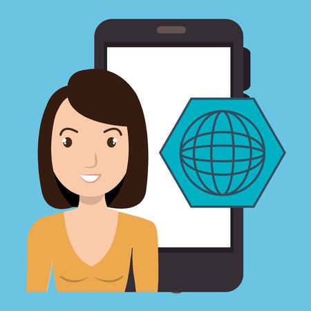 woman smartphone applications globbal vector illustration eps 10 Illustration