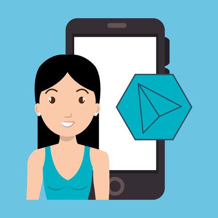 woman smartphone: woman smartphone applications cursor vector illustration eps 10