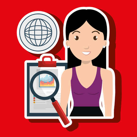 qualify: woman clipboard search global vector illustration eps 10