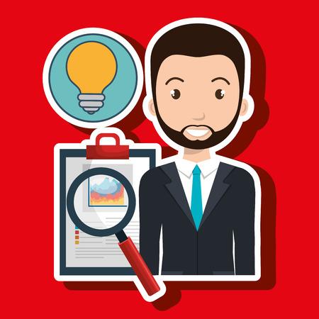 qualify: man clipboard search idea vector illustration eps 10 Illustration