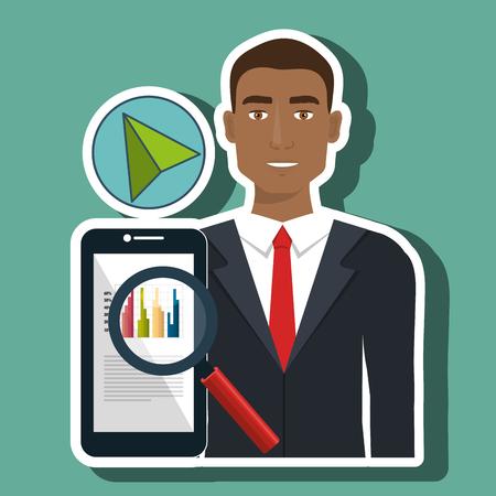 man search smartphone cursor vector illustration eps 10