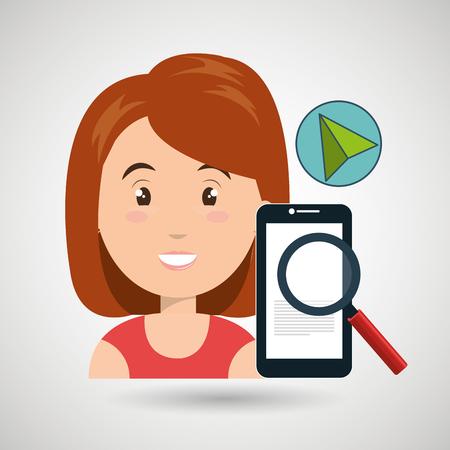 woman smartphone search cursor vector illustration eps 10 Illustration