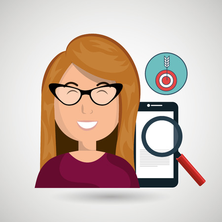 woman smartphone: woman smartphone search target vector illustration eps 10