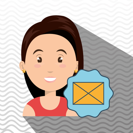 woman email message envelope vector illustration eps 10