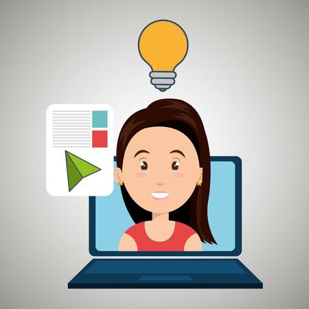woman laptop: woman laptop document idea vector illustration eps 10