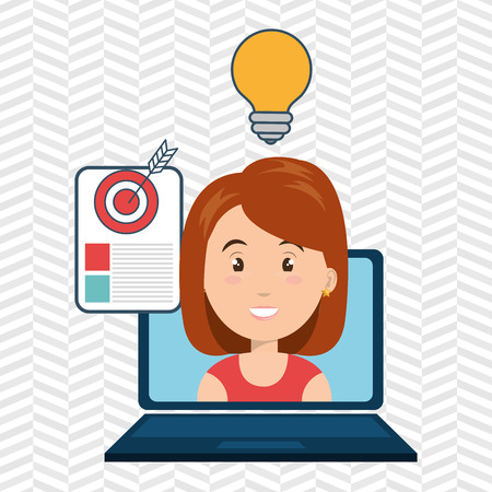 woman with laptop: woman laptop document idea vector illustration eps 10