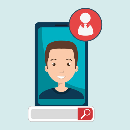 talking phone: man online search app vector illustration eps 10