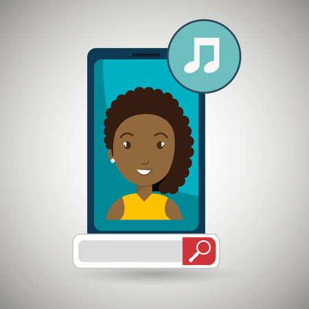 letras musicales: woman online search app vector illustration eps 10 Vectores