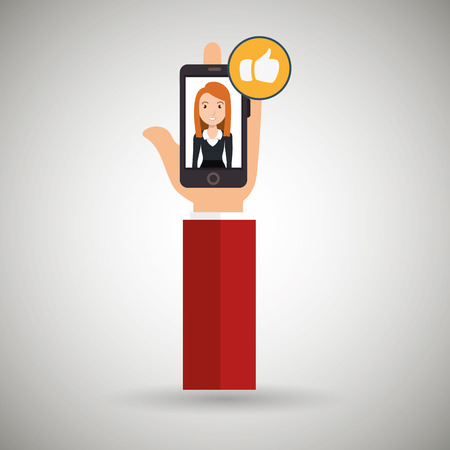 cellphone in hand: hand cellphone woman icon vector illustration eps 10