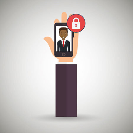 cellphone in hand: hand cellphone man icon vector illustration eps 10